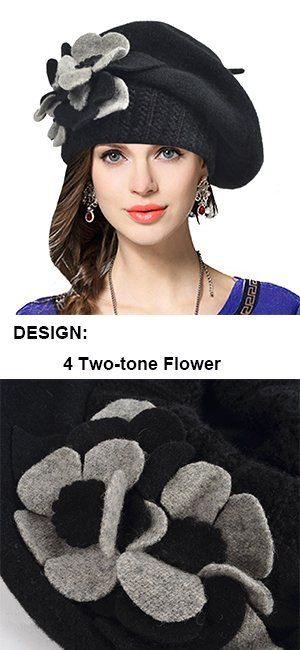 e61b09de214 VECRY Lady French Beret 100% Wool Beret Floral Dress Beanie Winter Hat  (Angola-Black) at Amazon Women s Clothing store