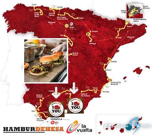 ¡HAMBURDEHESA DA SABOR A LA VUELTA A ESPAÑA 2015! De la mano de Carrefour España, nuestras hamburguesas estarán presentes en el parque itinerante de la edición de la Vuelta a España 2015, etapas 1ª Puerto Banús - Marbella, y 3ª Mijas - Málaga. Para estar en una cita de esta altura, debemos estar muy ricas, ¿no crees?  #QuieroUnaDehesa