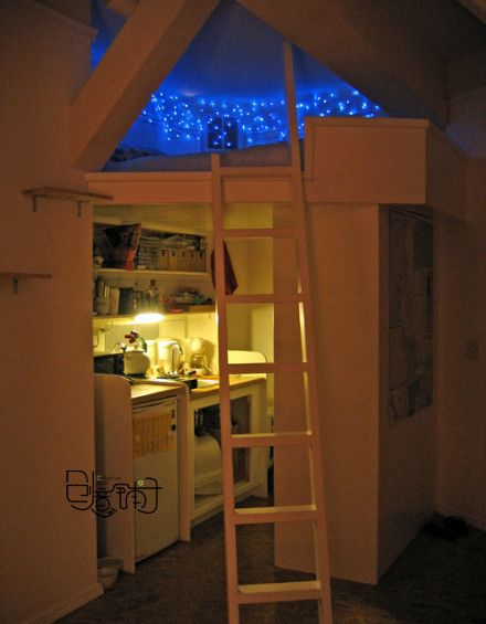 Star loft!: Lights, The Loft, For Kids, Kids Room, Kid Rooms, Bedrooms, Small Spaces, Loft Beds, Starry Nights