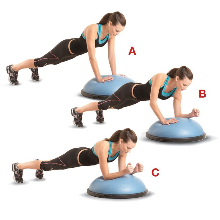 Start in a pushup position, with your hands on a BOSU trainer and your feet hip-width apart (a). Lower your left forearm onto the BOSU (b), then your right, keeping your body in a straight line (c). Push back to the starting position, starting with your left hand. That's one rep; do 10 to 15. Rest for 15 seconds, then repeat, leading with your right arm. Keep alternating for two or three sets.