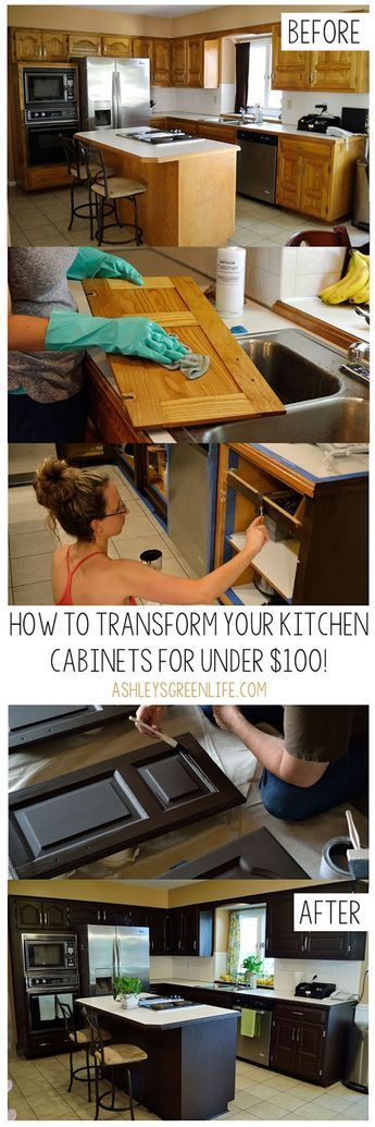 How to paint your dated oak kitchen cabinets using the Rustoleum Cabinet Transformations kit in the color Espresso...all for under $100!