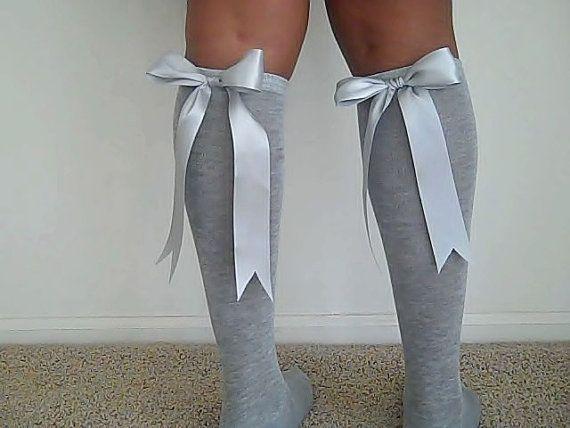 Satin Ribbon Bow Knee Socks Knee High Socks by ericabstudios, $12.50