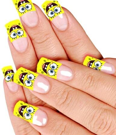Best Spongebob Images On Pinterest Nail Art Designs Bobs And - Spongebob nail decals