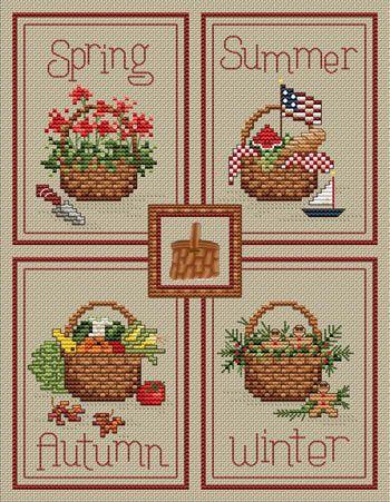Seasonal Baskets - Cross Stitch Pattern