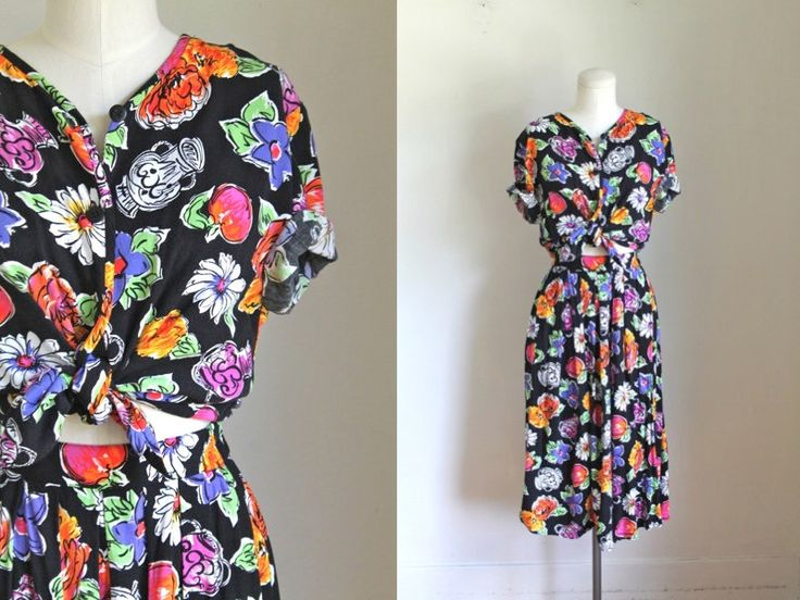 vintage 1980s dress set - STILL LIFE novelty print blouse & skirt 2pc set / S/M by MsTips on Etsy https://www.etsy.com/listing/528602254/vintage-1980s-dress-set-still-life