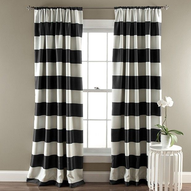 Bold Stripe Curtain Panel Set Of 2 In 2020 Curtains Striped Room Striped Curtains