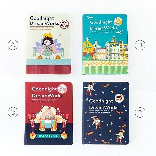 [RESTOCK] Goodnight Dreamworks Organizer  Buku catatan jadwal / jurnal hardcover dengan ilustrasi kartun cerita anak-anak pada sampulnya.  Organizer ini dapat digunakan untuk berbagai keperluan karena selain terdapat halaman pengisian jadwal dalam berbagai format - bulanan mingguan harian - di dalamnya juga bisa ditemukan halaman kotak-kotak dan halaman titik-titik.  Tersedia dalam 4 varian. (lihat gambar)  Ukuran 14.2 x 10.5 cm. Hardcover.  Isi: Monthly-weekly-daily planner masing-masing 42…