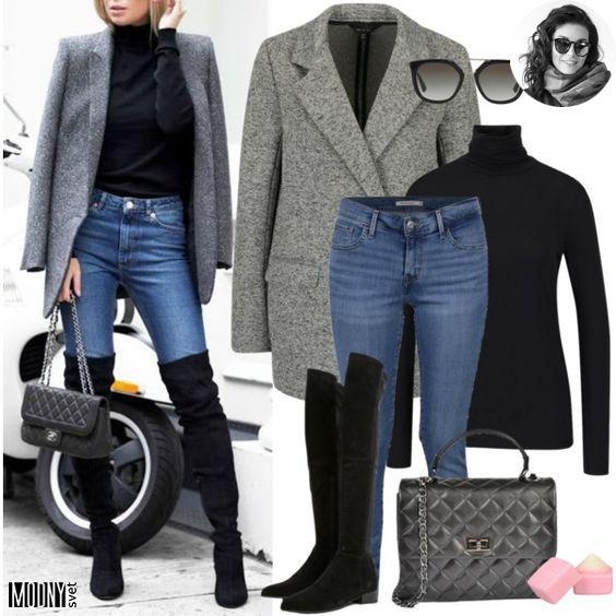 191eae7b1 Krátky sivý kabát v roku 2019 | Tip na OUTFIT zo slovenských obchodov |  Čižmy nad kolená, Outfit a Čižmy