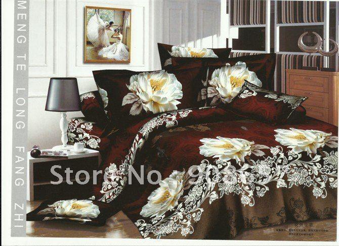 Белый яркие цветочные принты скидка пододеяльник комплект 4 шт. для хлопок постельное белье полный / королева постельного белья 4 шт. домашний текстиль
