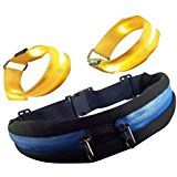 Cheap Runner Waist Pack and 2 Reflective LED Arm Bands. Dual Expandable and Water Resistant Pockets Separate Phone...