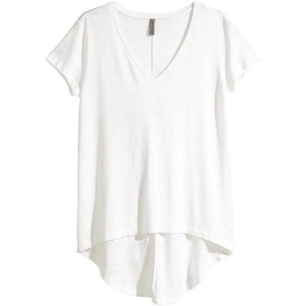 H&M Jersey top ($12) ❤ liked on Polyvore featuring tops, shirts, h&m, tees, white, polyester shirt, white short sleeve top, white top, h&m shirts and jersey top