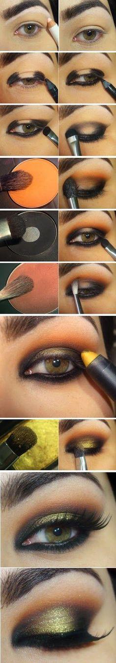 Gorgeous smokey eye makeup with gold, orange and black shade