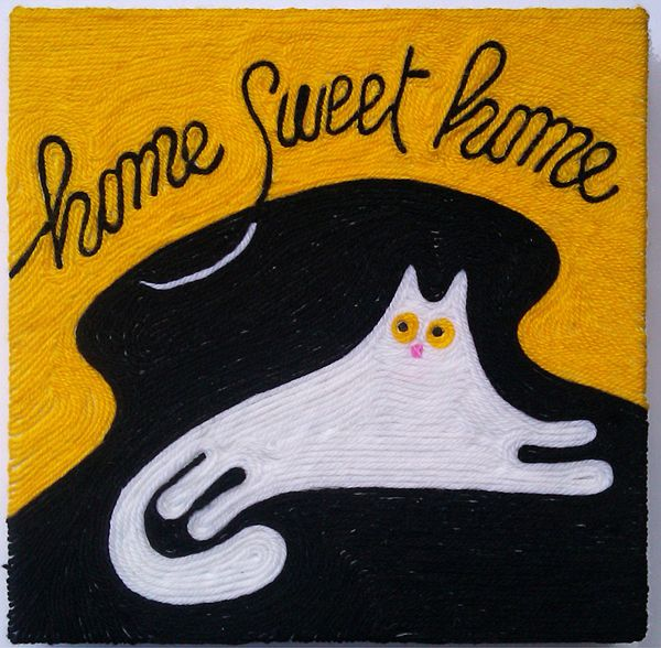 Home sweet home, wool drawing by Marcella Peluffo, via Behance