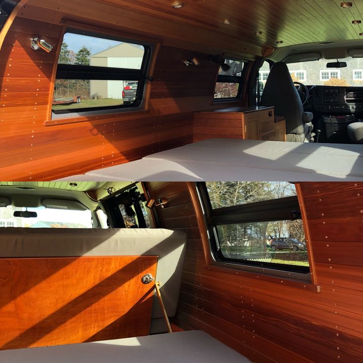 A Custom Van Interior By Brookfield Woodworking In Cushing, Maine. The  Woods Used Are Red Cedar For The Walls, White Cedar For The Ceiling, Teak  Window Trim ...