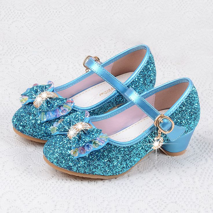 Fashion Children shoes girls high heel for party dance sequined princess shoes snow queen for kids pink blue leather shoes #Affiliate