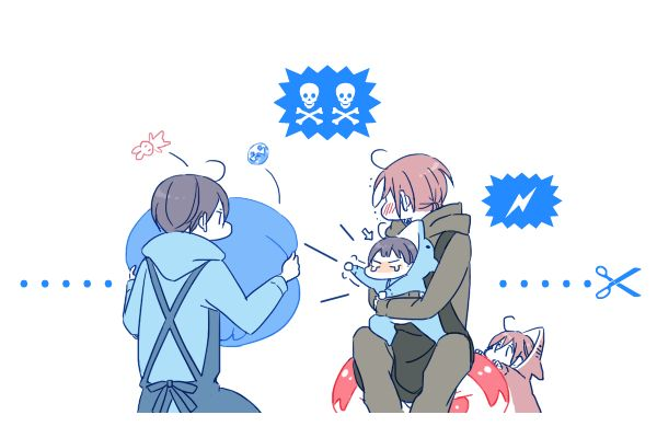 Big head ...  Drawn by JUSTIS ... Free! - Iwatobi Swim Club, free!, iwatobi, rinrin, haru-chan, haruka nanase, haru nanase, haru, nanase, haruka, rin matsuoka, matsuoka, rin, squishy bean