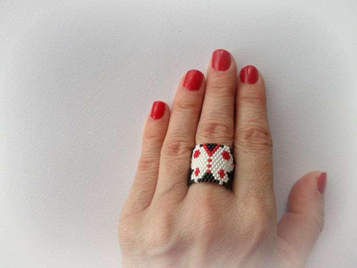 Beaded ring butterfly with high quality Japanese Miyuki beads size 11. Peyote stich 100 % handmade. by Vintagespecialmoment on Etsy