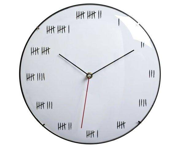 a clock like this at work - too funnyDecor, Tally Mark, House Ideas, Design Ideas, Alcatraz Wall, The Silence, Black White, Wall Clocks, Clockmor Scary