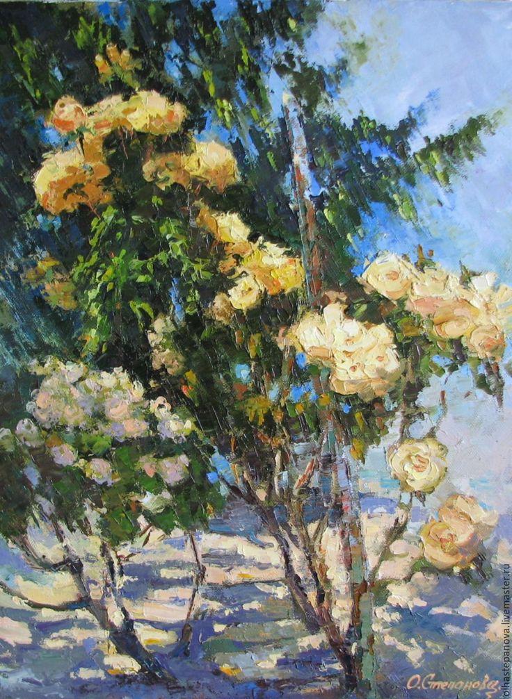"""Купить Картина """"Желтые розы"""", холст, масло. - желтый, розовый, розы, глория роза"""