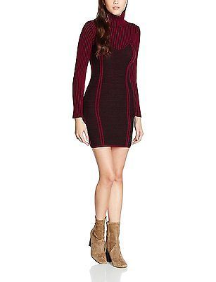 14 (Manufacturer Size:L), Red (Burgundy), Boohoo Women's Roll Neck Jumper Dress