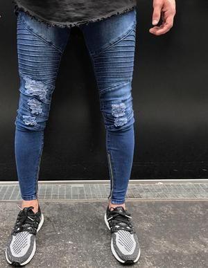 fc7271520a men hip hop skinny motorcycle denim pants streetwear dark blue jeans mens  pantalones vaqueros hombre casual jeans men