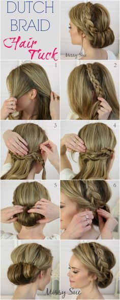 "Dutch braid hair tuck tutorial- Project ""Let's Look Like a Presentable Human Being at Weddings"""