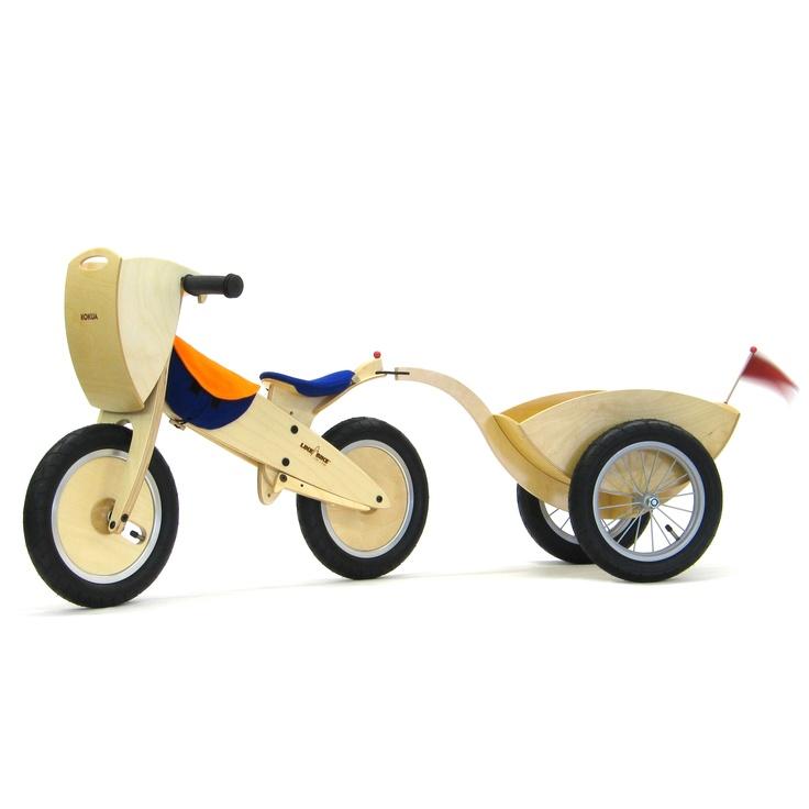KOKUA Remolque de madera con ruedas de radios