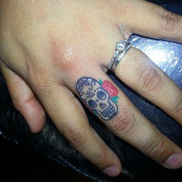 Sugar Skull Finger Tattoo