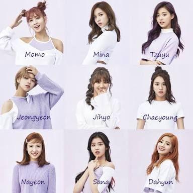 Resultado de imagem para twice name members