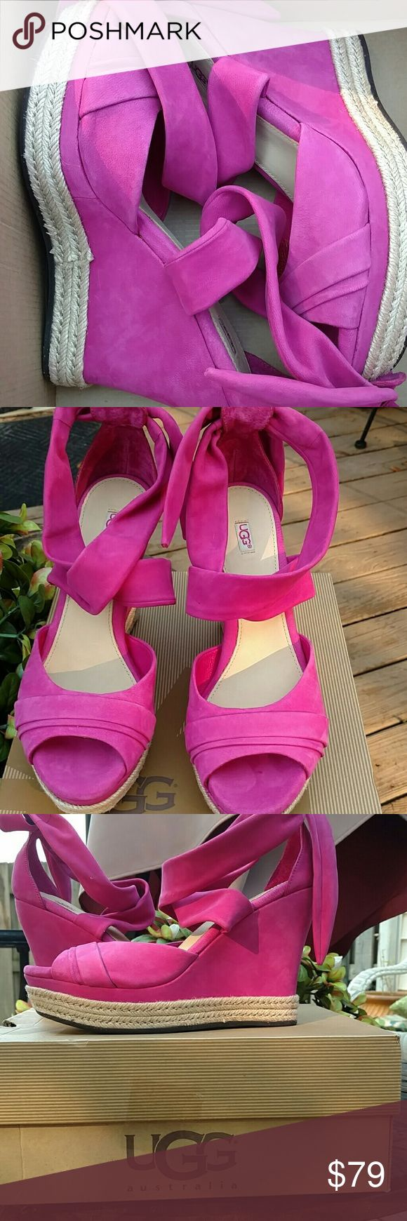 Ugg hot pink Lucy edges! Gorgeous brand new UGG wedges. Hot pink feel like suede! UGG Shoes Sandals