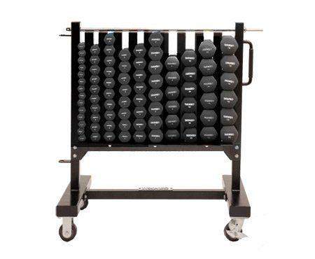 Ivanko Aerobic Dumbbell Rack on Wheels for Neoprene and Vinyl Dumbbell Sets. (14) 1 lb. Dumbbells. (10) 2 lb. Dumbbells. (10) 3 lb. Dumbbells. (8) 4 lb. Dumbbells. (8) 5 lb. Dumbbells. (8) 7 lb. Dumbbells. (6) 8 lb. Dumbbells. (6) 10 lb. Dumbbells. (6) 12 lb. Dumbbells. (6) 15 lb. Dumbbells.