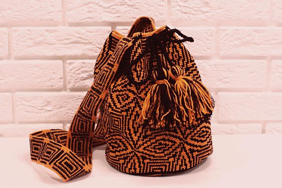 AUTHENTIC Orange  black WAYUU Shoulder Purce Hobo Bag