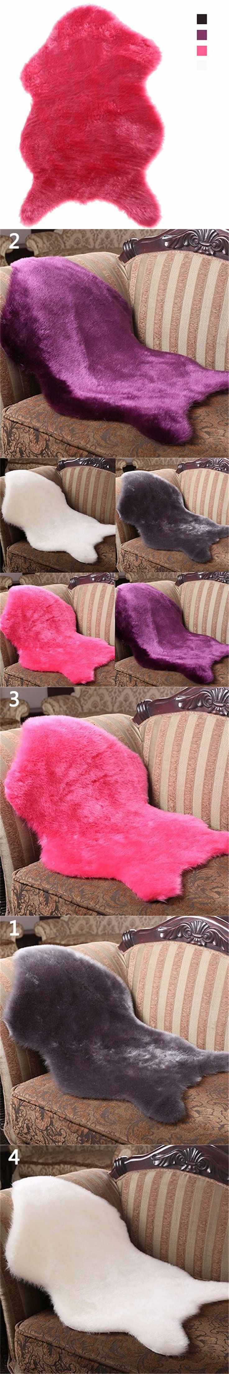 Soft Faux Sheepskin Rug Mat Carpet Pad Anti-Slip Chair Sofa Cover Home Decoration Grey Purple Rose Red White 4 Colors for Choose