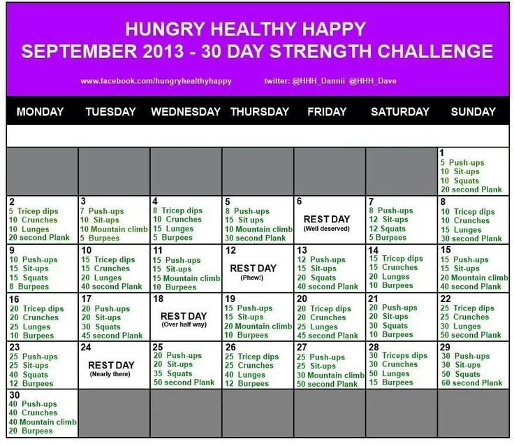 September workout challenge. TIme for another challenge! This one is an all over challenge so looking forward to in in conjuction with my running