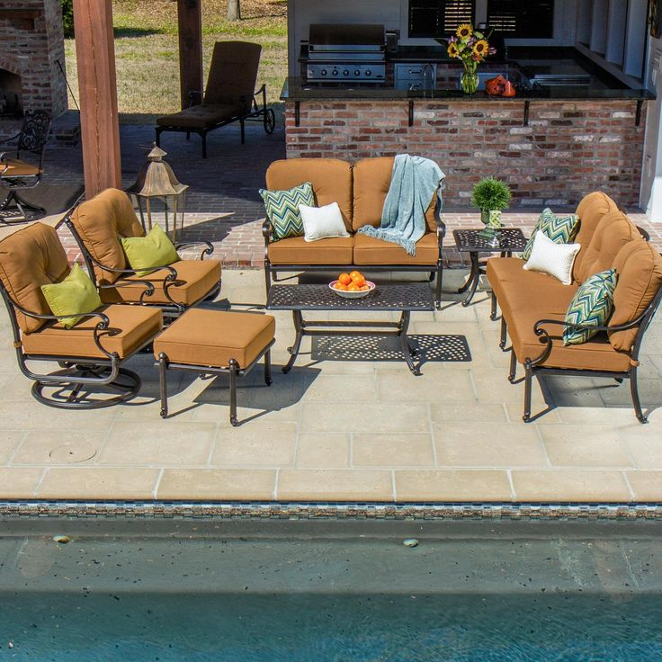 Evangeline 7 Piece Cast Aluminum Patio Seating Set With Swivel Rockers By  Lakeview Outdoor Designs   Canvas Teak