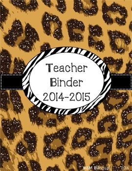 This cute leopard print binder includes everything you need to get organized for the 2014-2015 school year! *45 leopard themed binder covers *1 inch & 2 inch binder spine inserts for all of the 45 cover pages *August – July calendar pages with matching leopard background *17 pages to use as documentation throughout the year 100 pages of cute, fun organization!