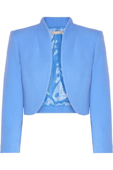 Michael Kors Collection - Cropped Wool-blend Crepe Jacket - Azure - US