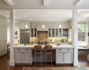 traditional kitchen posts if the whole wall can't come down. Like this color Gray fire accent island.