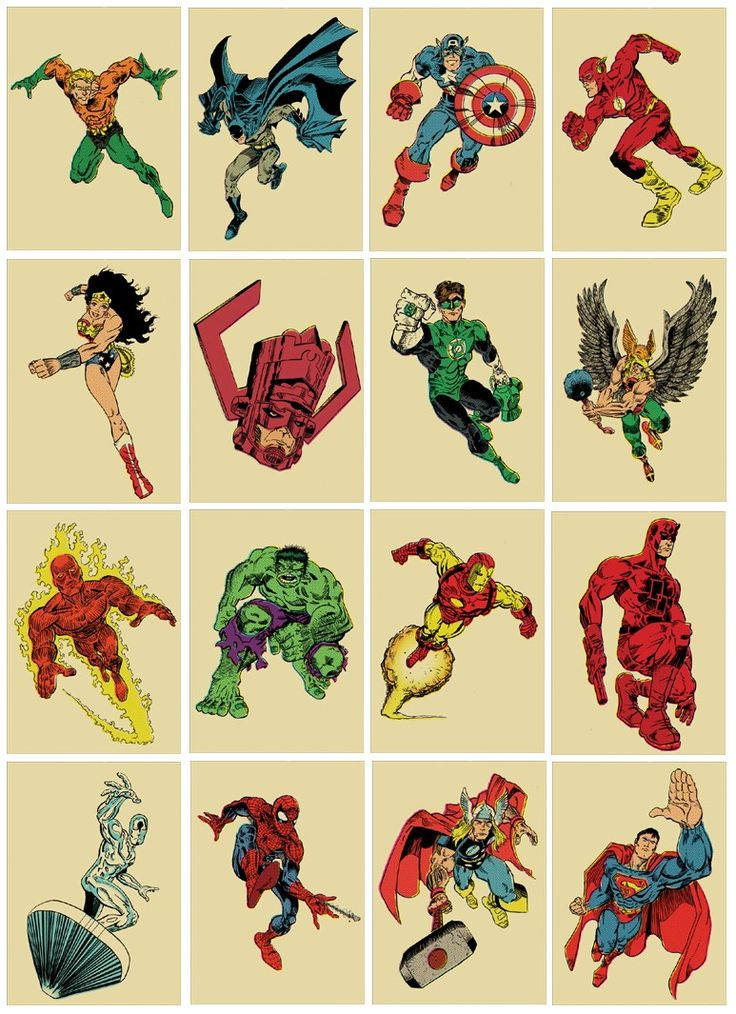 Sixteen 8x10 comic book superhero vintagestyle print by TeamWelser
