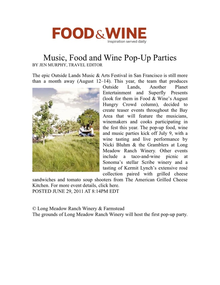 Outside Lands Earance In Food Wine Magazine