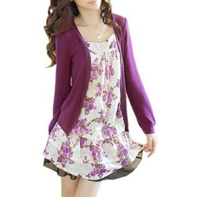 Lady Flower Print Front Long Sleeve Fake Two Piece Shirt Purple S