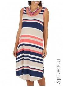 Me-a-mama | Striped Swing Dress Multi-colour