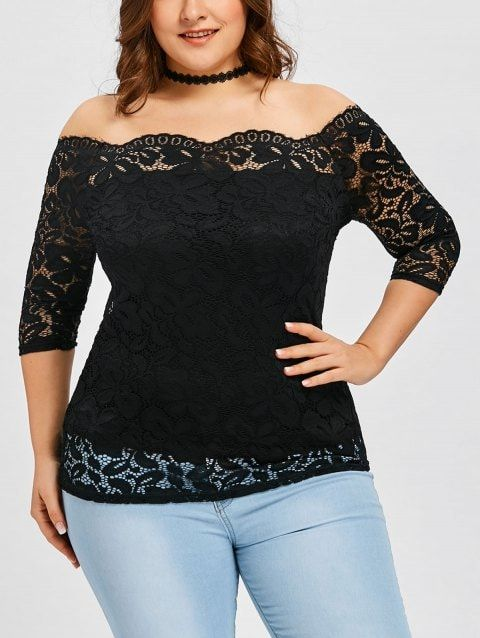 33c720593bed16 Plus Size Scalloped Off The Shoulder Blouse - BLACK 4XL