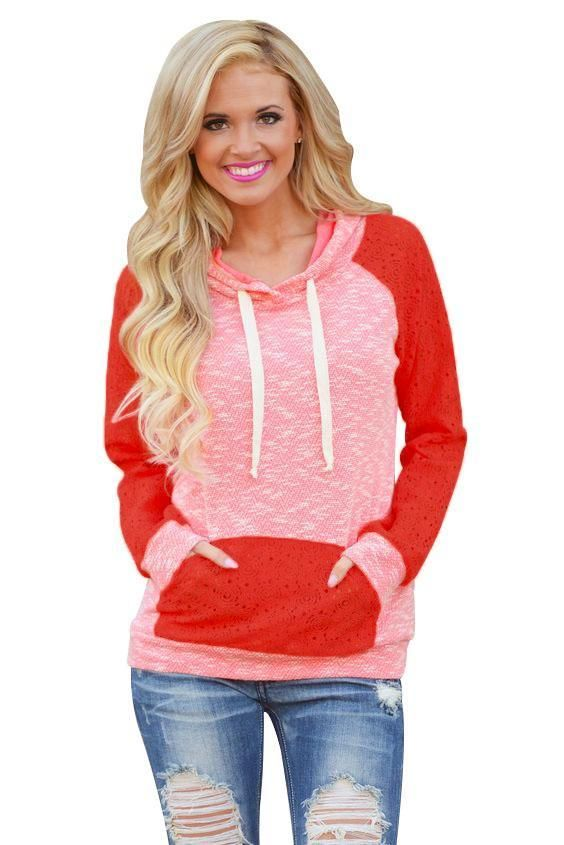 Chic Red Pink Lace Accent Kangaroo Pocket Casual Hoodie ChicLike.com