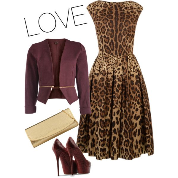 Leopard print dress with burgundy jacket and shoes