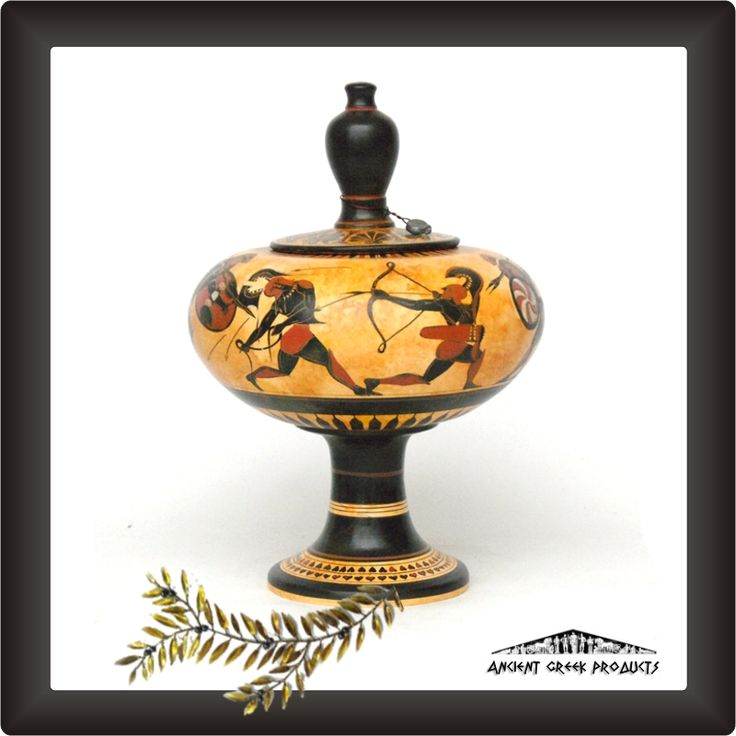 Attican black-figured column jewelry box     Pot for jewelry storage     Size 25 cm. Weight 2700 gr.