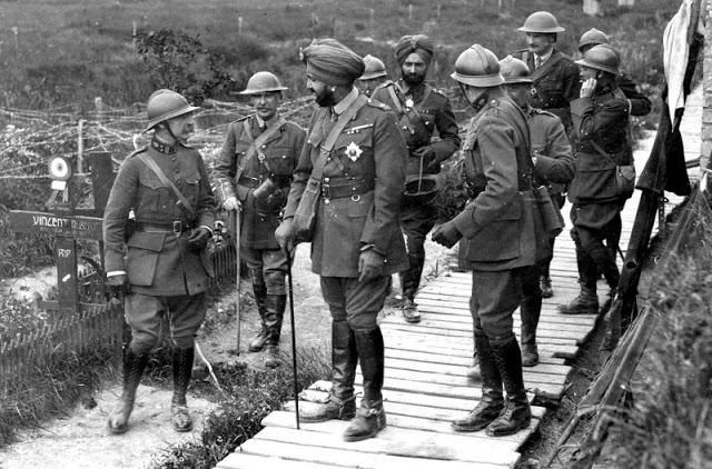 WWI Bupinder Singh, the Maharaja of Patiala, India with Belgian Generals visiting the Western Front. c.1918