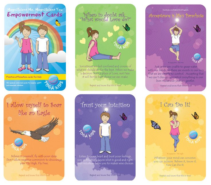 COMING SOON! Empowerment Affirmation Cards for Kids designed to help children develop and empower them with the knowledge that they are in control and able to choose thoughts that help them overcome challenges to lead them to a happy, healthy life of their dreams. For more info about the card packs and for printable online versions see, https://www.facebook.com/HolisticWorldYogaKids Note. Printed card decks do not have our logo on the each card front. Holistic World Yoga Kids.