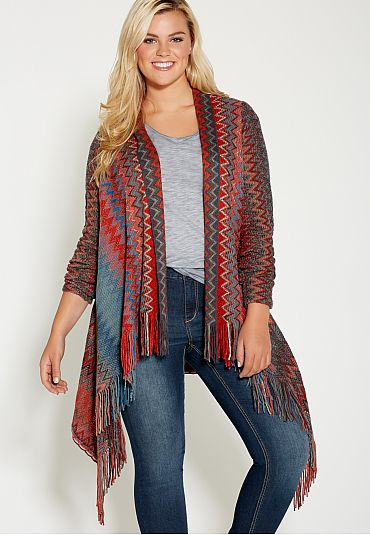 plus size chevron striped blanket cardigan