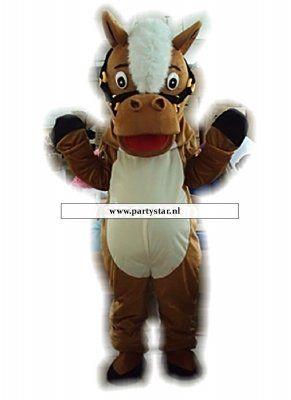 Grappig paard mascotte kostuum